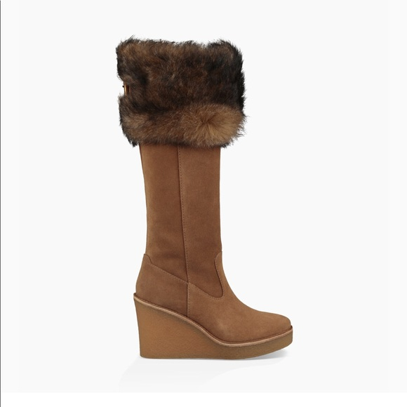 2edd6921d3a2 UGG Valberg Suede   Sheepskin Tall Wedge Boots 7